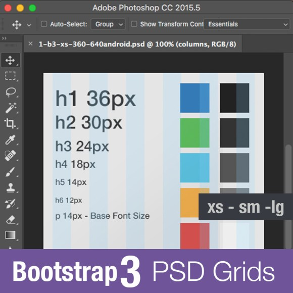 bootstrap3 grid psd