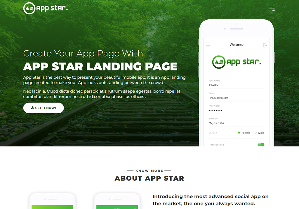 Free android ios mobile app landing page template theme