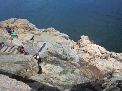 Rock climbers in Acadian National Park