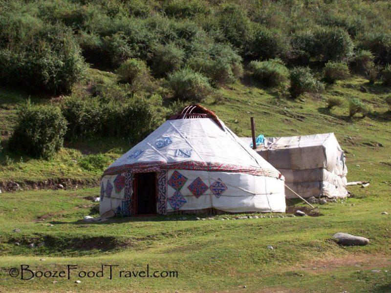 Kazakh yurt along the roadside