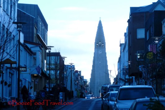 Hallgrimskirkja as seen from the street