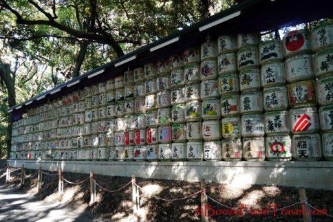 Sake jars on the path to the shrine
