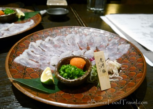Wonderful presentation of fugu sashimi