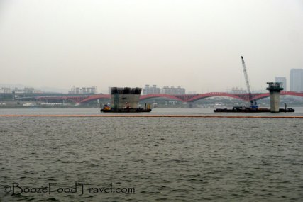 Slightly cleaned up (Photoshopped) view of the hazy Han River
