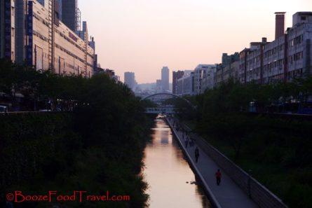The walk along Cheonggyecheon is nice
