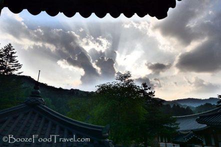 The sun setting over Woljeongsa Temple