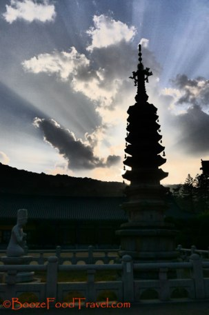 Sunset at Woljeongsa Temple, Korea