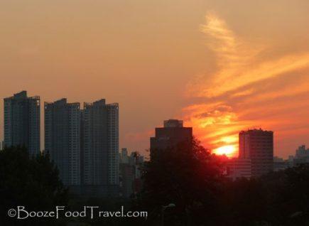 Sunset over Noksapyeong, Seoul