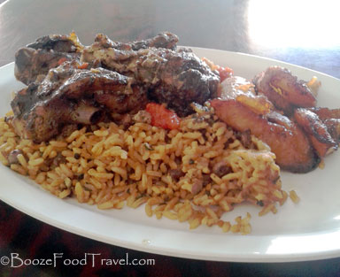 Nicole's jerk chicken and plantains before I added the hot sauce