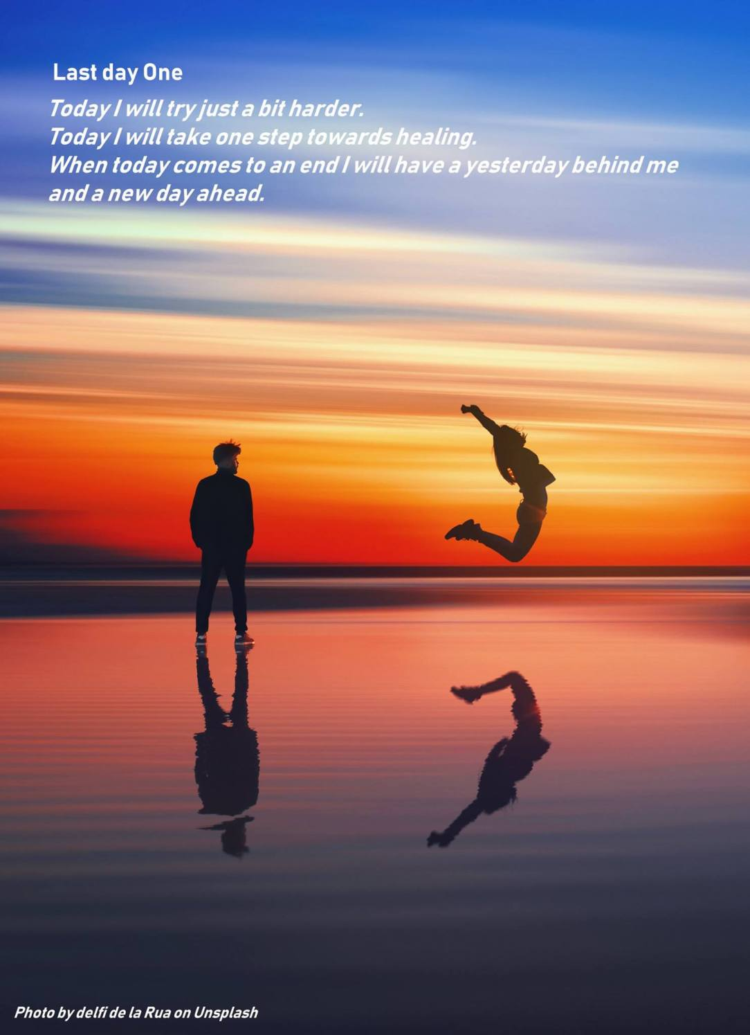 Persons at sunset with text, related with sober parenting
