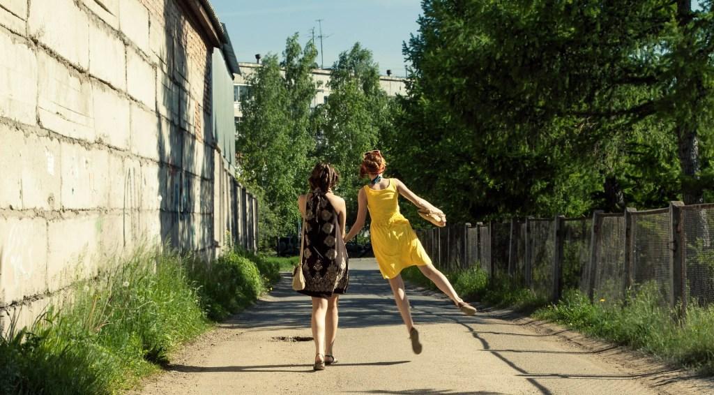 Happy Women walking in peace