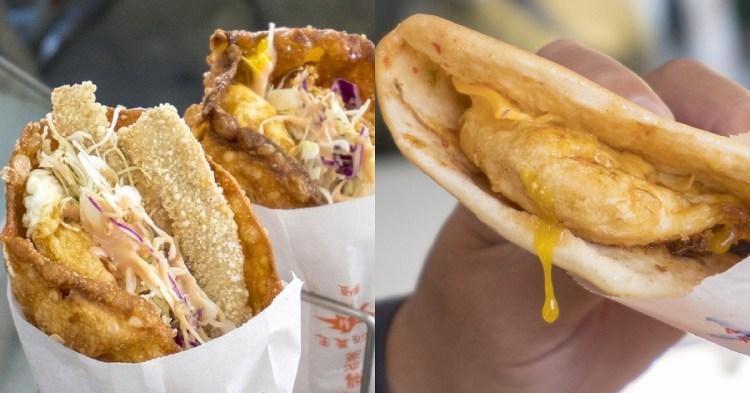 竹力亭。炸蛋蔥油餅包雞排沙拉 加料吃才過癮 超大雞排下午點心