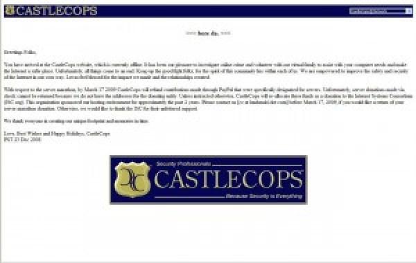 La page d'accueil de CastleCops