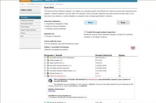 "Rapport du ""Online Sofware Inspector"""