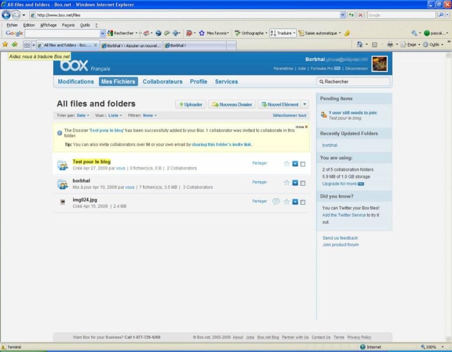 L'interface de box.net