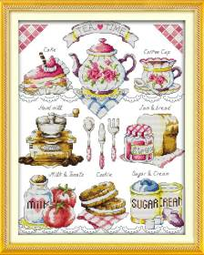 Quadro e Barrado de Cozinha Hora do Chá Rosa 1