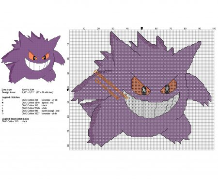 Gengar Pokemon ponto cruz