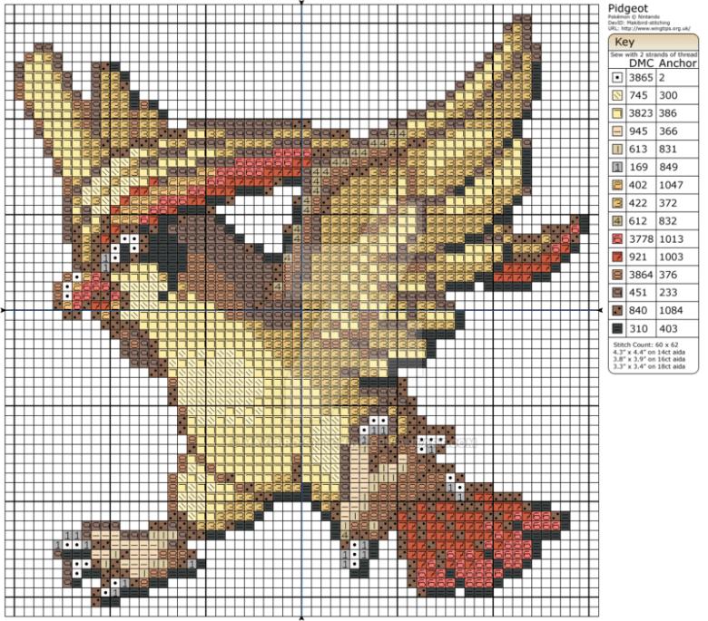 Pidgeot Pokemon ponto cruz