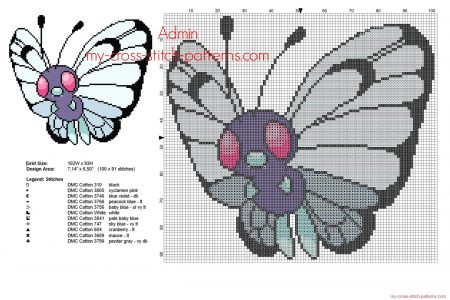 butterfree Pokemon ponto cruz