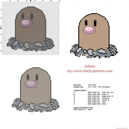 diglett Pokemon ponto cruz