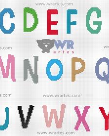 grafico alfabeto letra ponto cruz bebe infantil