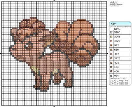 vulpix Pokemon ponto cruz