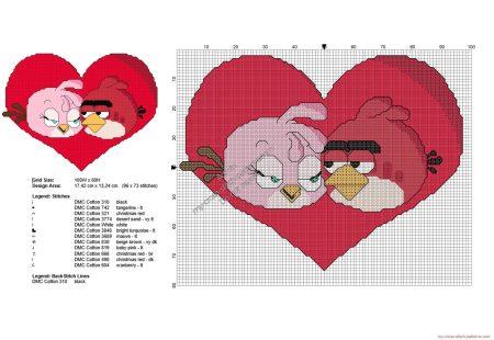 Angry Birds Passaro vermelho Apaixonado 01 em ponto cruz