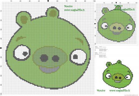 Angry Birds Porco Verde 01 em ponto cruz