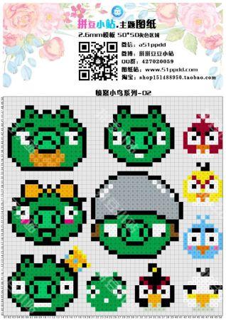Angry Birds personagens 05 em ponto cruz