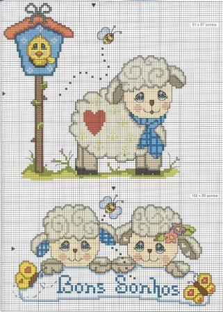 colecao de ovelha em ponto cruz 16