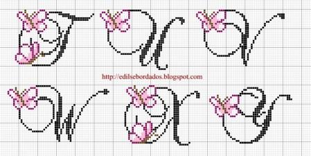 Monograma borboleta delicada pequeno 30 em ponto cruz 4