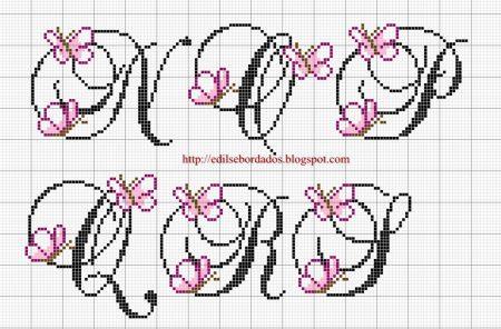Monograma borboleta delicada pequeno em ponto cruz 3