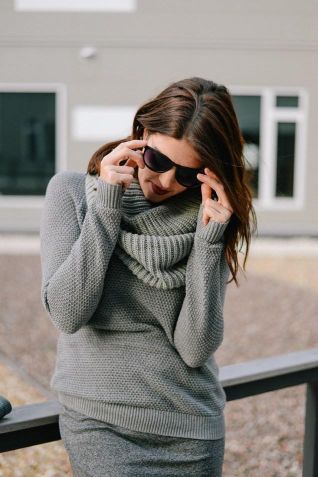 monochromatic gray weekend wear