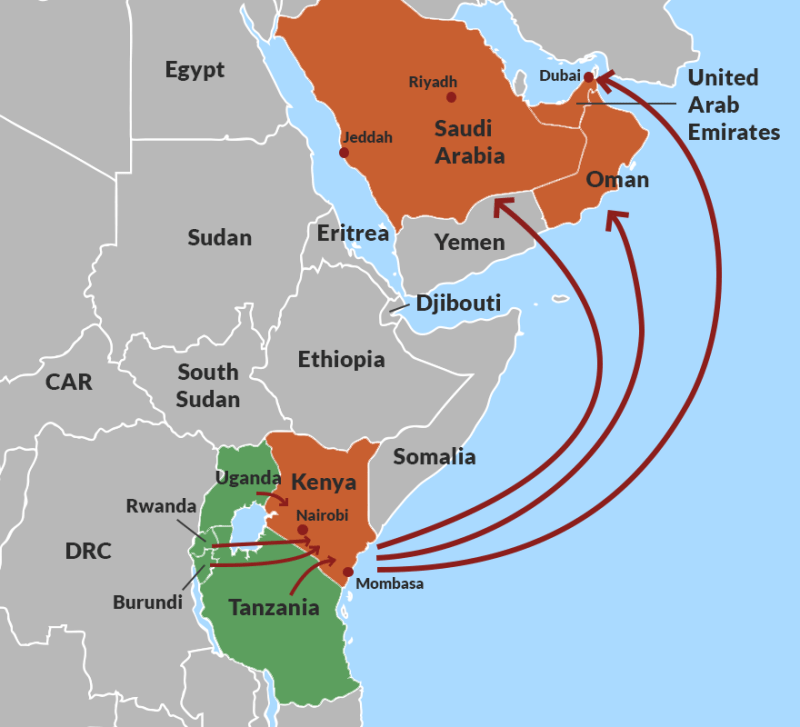 Human trafficking routes from East Africa to the Middle East
