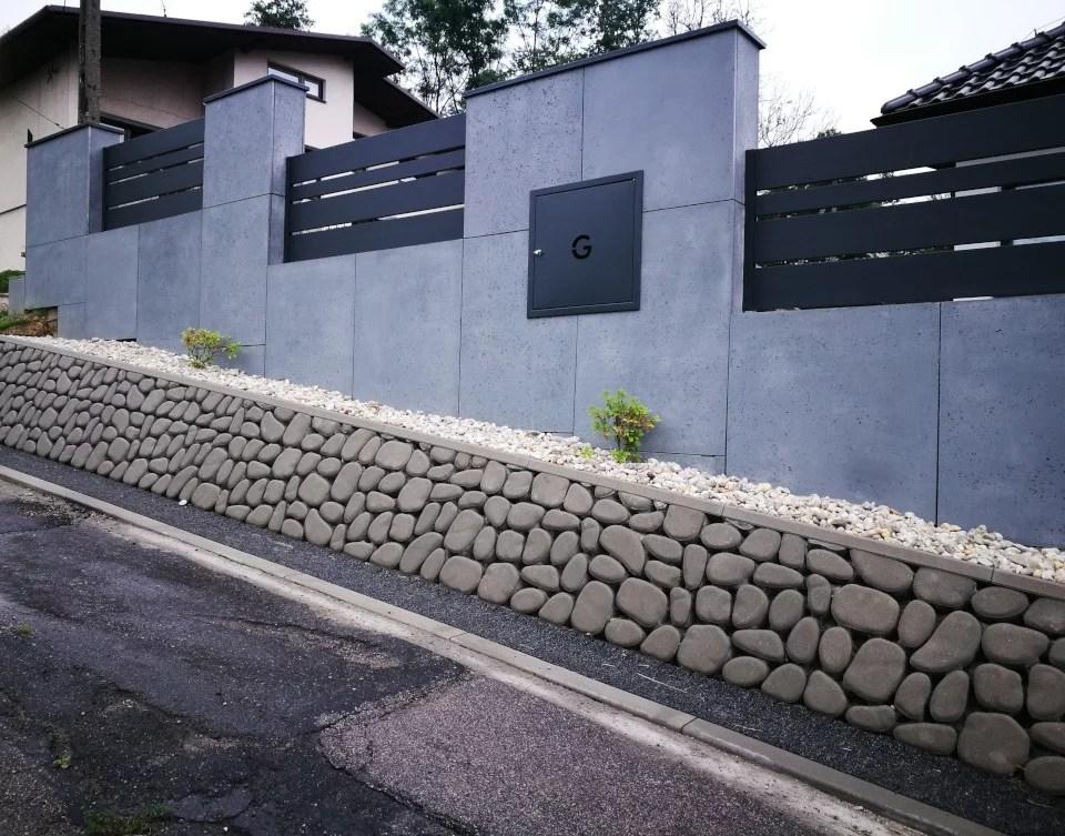 ogrodzenie murowane ogrodzenia border ogrodzenia aluminiowe alugate beton architektoniczny rfid videodomofon 1b
