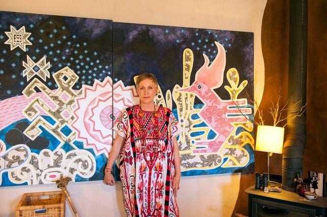Artist Irma Sofia Poeter at her house and studio in Tecate, Baja California, Mexico. LA FRONTERA: Artists along the US Mexican Border. © Stefan Falke www.stefanfalke.com borderartists.com