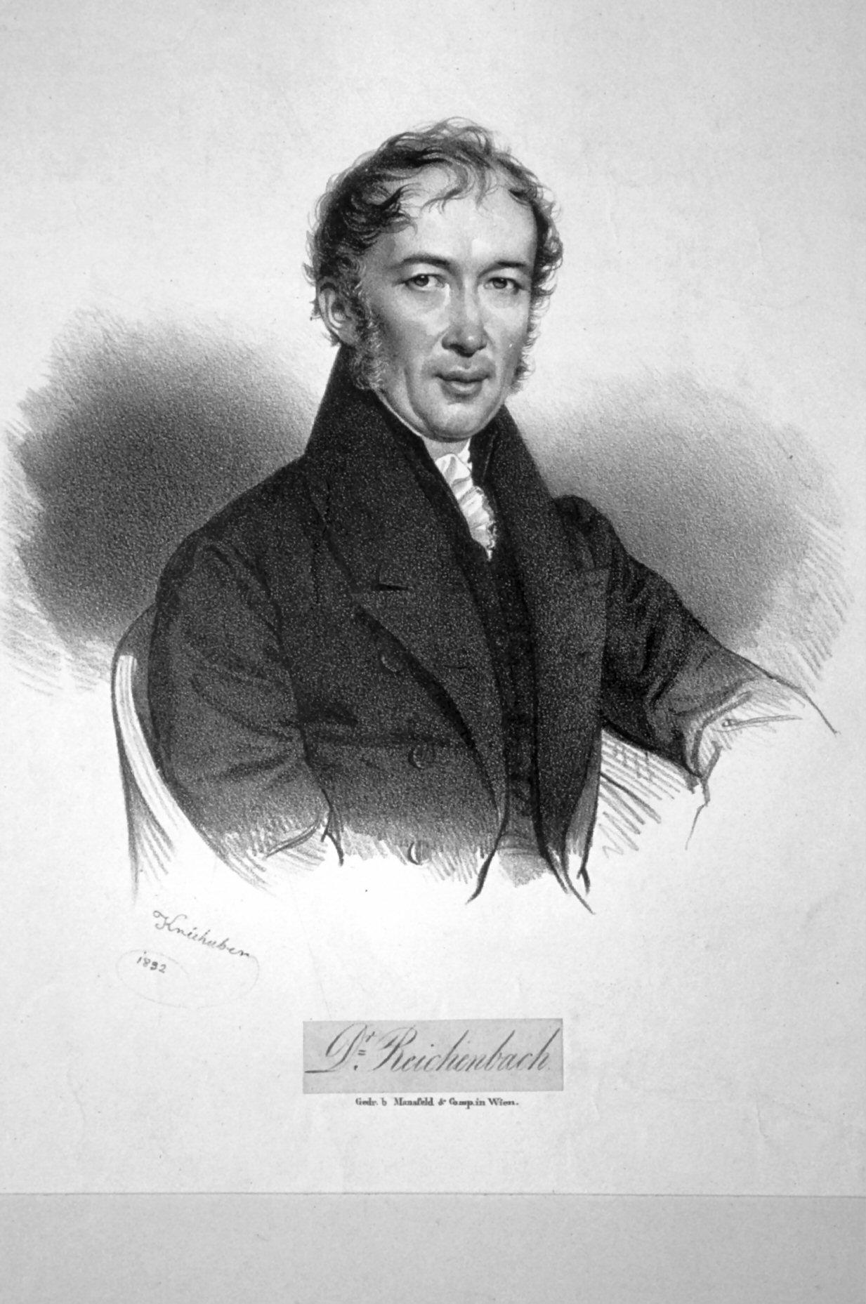Karl von Reichenbach (1788-1869) deutscher Chemiker und Erfinder, lithograph by Josef Kriehuber, 1832.