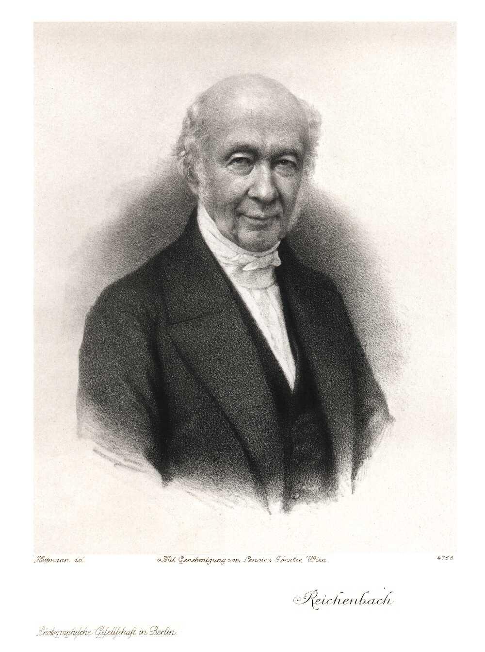 Karl von Reichenbach (1788-1869) deutscher Chemiker und Erfinder, lithograph by Rudolf Hoffmann.