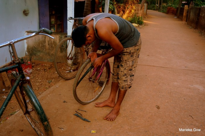 Flat tire in Gokarna
