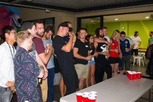The main event! Beer pong! the staple game of any backpacker hostel.