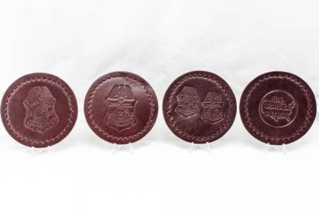 LEATHER COASTER SET-ASST. - Leather Items