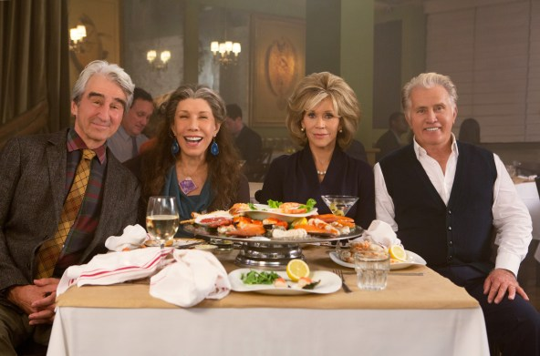 """Sam Waterston, Lily Tomlin, Jane Fonda and Martin Sheen in the Netflix Original Series """"Grace and Frankie"""". Photo by Melissa Moseley for Netflix.Ê"""