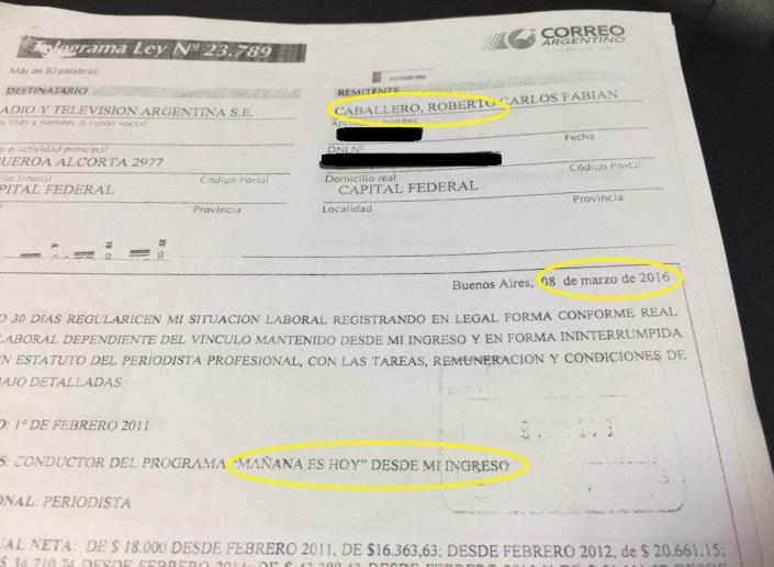 La carta documento de Caballero a RTA.