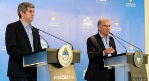 Marcos Peña y Oscar Aguad, el martes, en conferencia de prensa.