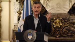 Macri, en la conferencia en la que anunció que todo el acuerdo con la empresa familiar volvía atrás.