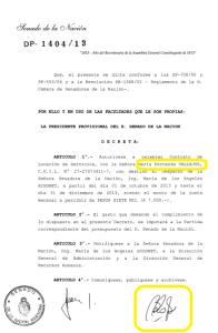 El contrato de Vallejos en el Senado, con la firma de Boudou.