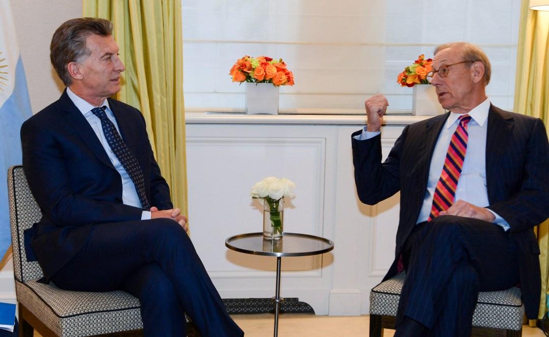 El presidente, junto al pope financiero Larry Fink, en Nueva York, en noviembre pasado.