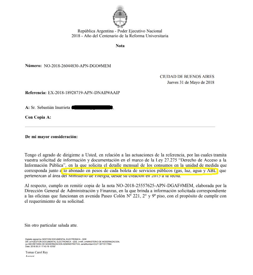 La respuesta del Ministerio de Energía al pedido de información de #BORDER. Lo mencionan pero omiten el gas.
