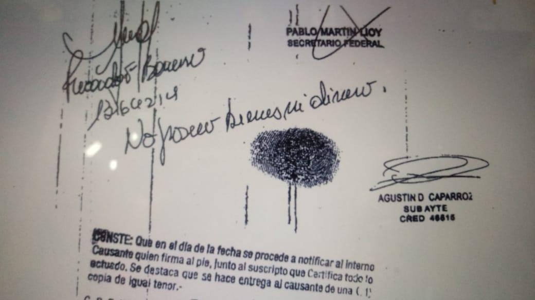 """Barreiro dijo no poseer """"bienes ni dinero"""". Había entrado en el blanqueo."""