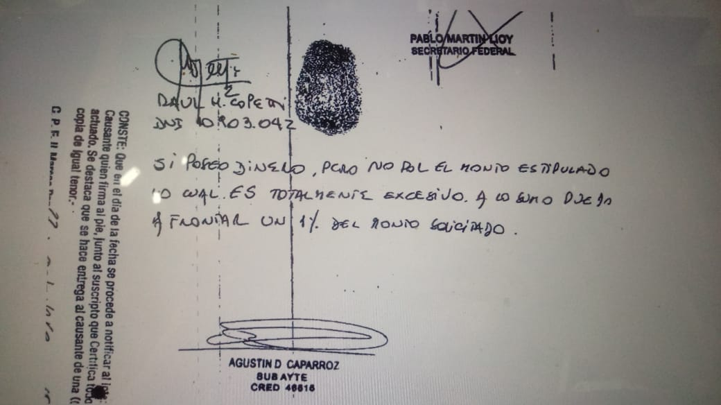 Copetti admitió poder afrontar un 1% del embargo: unos 30 millones de pesos.